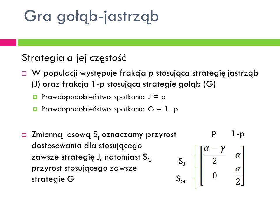 Strategia a jej częstość  W populacji występuje frakcja p stosująca strategię jastrząb (J) oraz frakcja 1-p stosująca strategie gołąb (G)  Prawdopodobieństwo spotkania J = p  Prawdopodobieństwo spotkania G = 1- p  Zmienną losową S j oznaczamy przyrost dostosowania dla stosującego zawsze strategię J, natomiast S G przyrost stosującego zawsze strategie G Gra gołąb-jastrząb SGSG SJSJ p 1-p