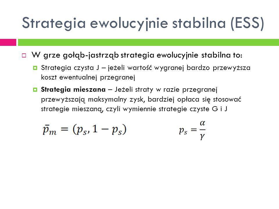 Strategia ewolucyjnie stabilna (ESS)  W grze gołąb-jastrząb strategia ewolucyjnie stabilna to:  Strategia czysta J – jeżeli wartość wygranej bardzo przewyższa koszt ewentualnej przegranej  Strategia mieszana – Jeżeli straty w razie przegranej przewyższają maksymalny zysk, bardziej opłaca się stosować strategie mieszaną, czyli wymiennie strategie czyste G i J