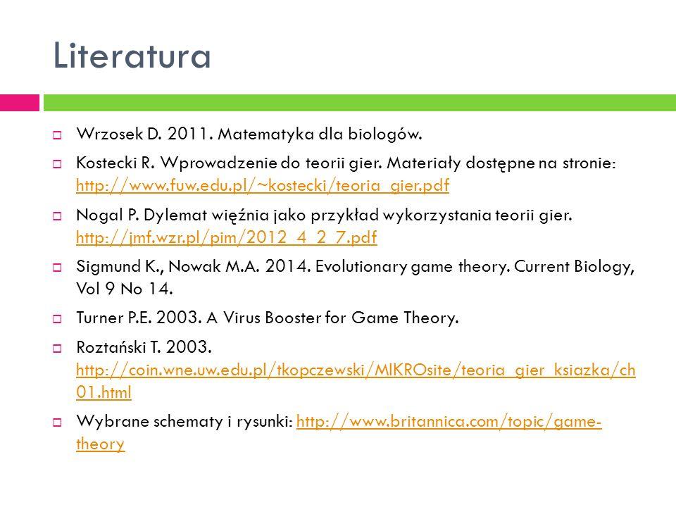Literatura  Wrzosek D. 2011. Matematyka dla biologów.