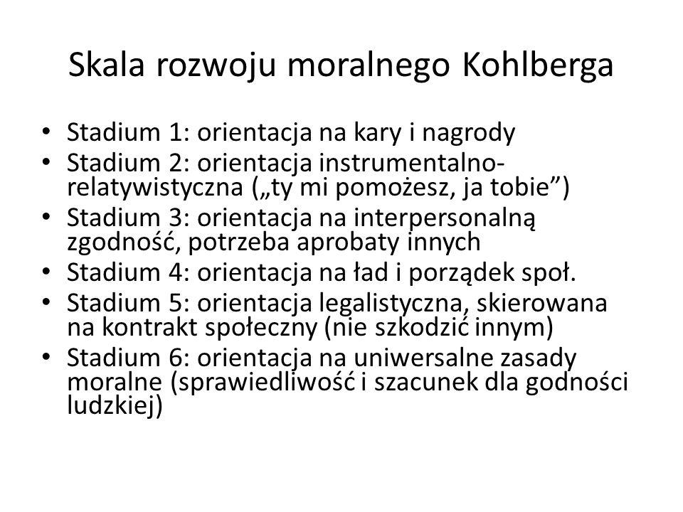 """Skala rozwoju moralnego Kohlberga Stadium 1: orientacja na kary i nagrody Stadium 2: orientacja instrumentalno- relatywistyczna (""""ty mi pomożesz, ja tobie ) Stadium 3: orientacja na interpersonalną zgodność, potrzeba aprobaty innych Stadium 4: orientacja na ład i porządek społ."""