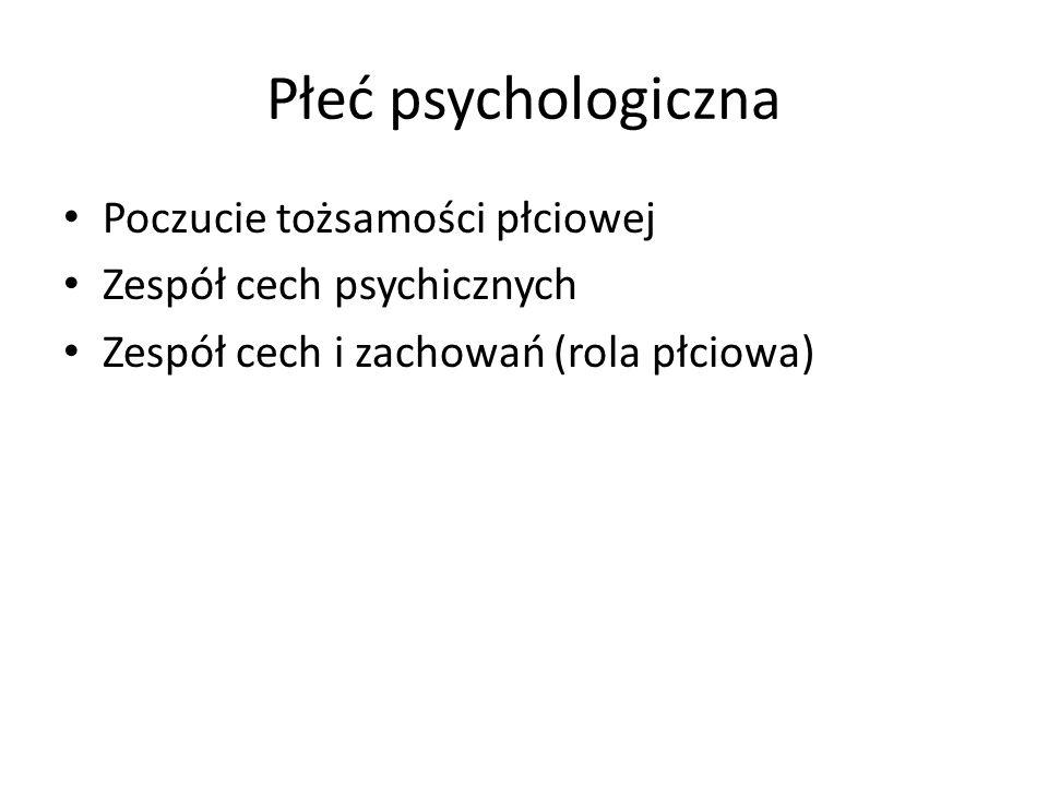Płeć psychologiczna Poczucie tożsamości płciowej Zespół cech psychicznych Zespół cech i zachowań (rola płciowa)