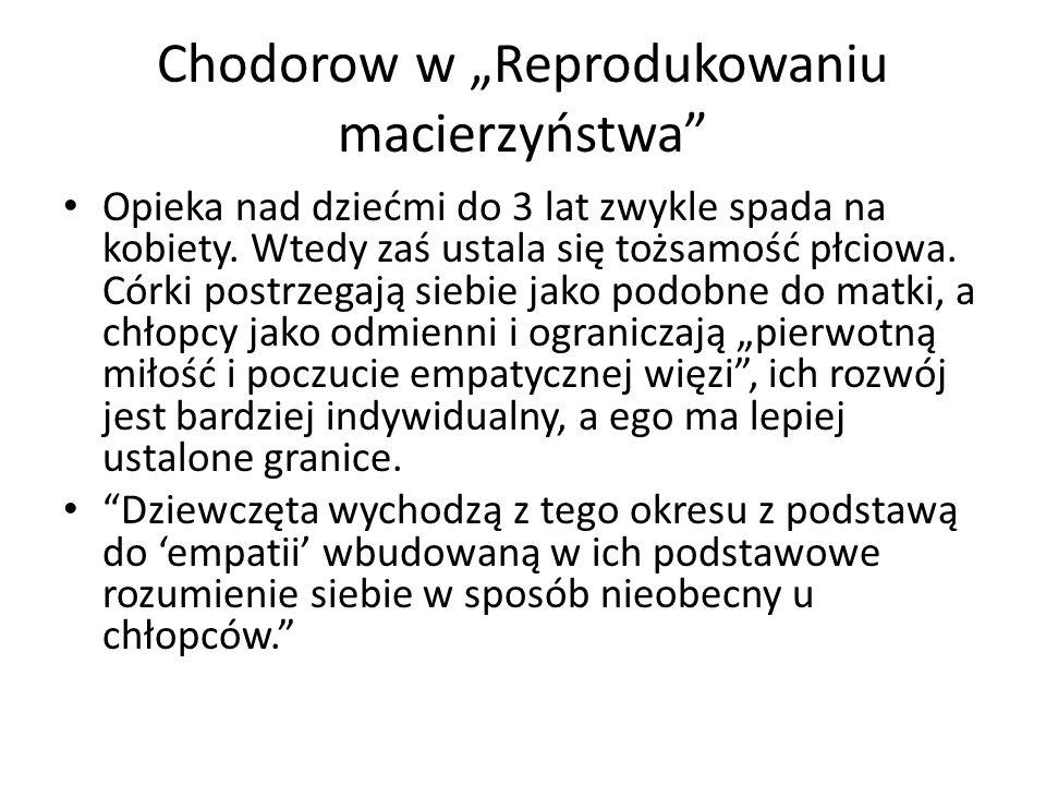 """Chodorow w """"Reprodukowaniu macierzyństwa Opieka nad dziećmi do 3 lat zwykle spada na kobiety."""