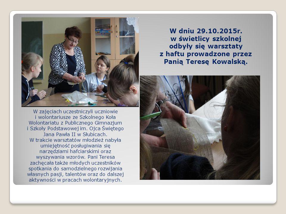 W zajęciach uczestniczyli uczniowie i wolontariusze ze Szkolnego Koła Wolontariatu z Publicznego Gimnazjum i Szkoły Podstawowej im.