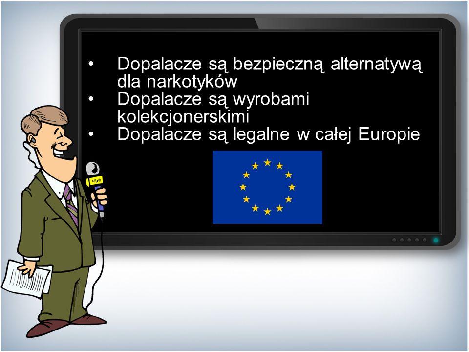 Dopalacze są bezpieczną alternatywą dla narkotyków Dopalacze są wyrobami kolekcjonerskimi Dopalacze są legalne w całej Europie