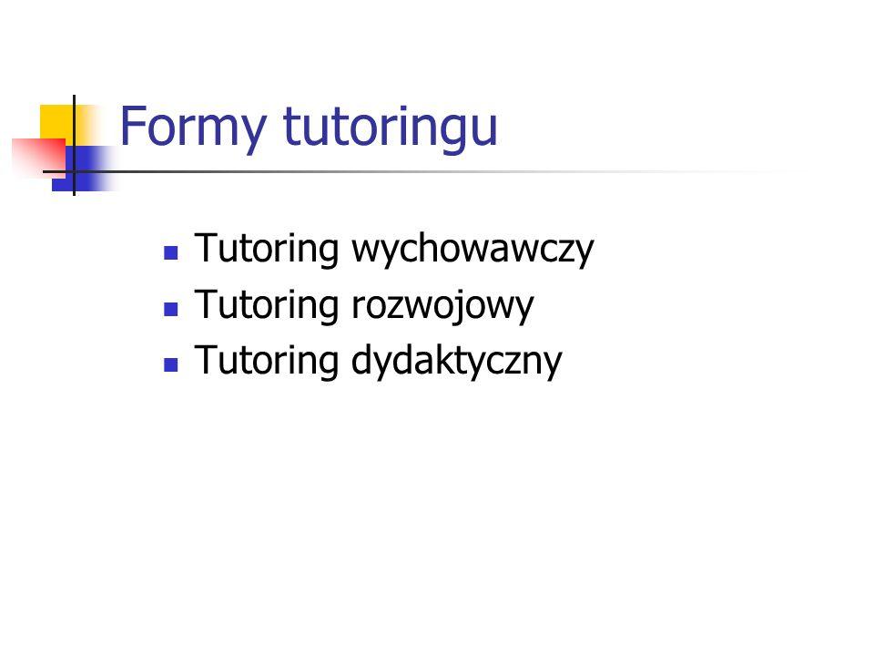 Formy tutoringu Tutoring wychowawczy Tutoring rozwojowy Tutoring dydaktyczny
