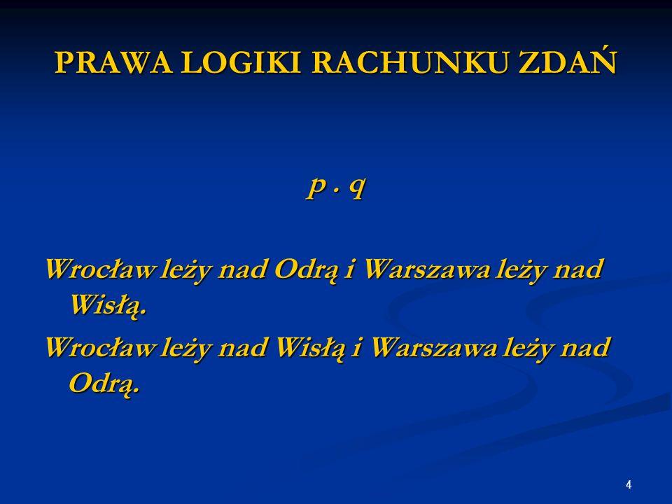 4 PRAWA LOGIKI RACHUNKU ZDAŃ p. q Wrocław leży nad Odrą i Warszawa leży nad Wisłą.