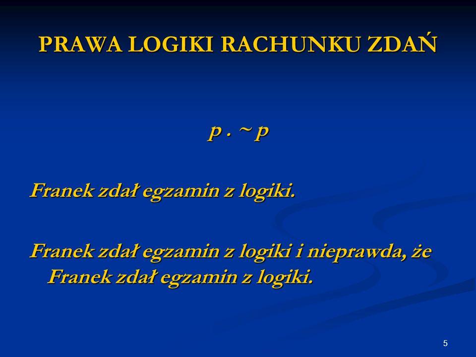 5 PRAWA LOGIKI RACHUNKU ZDAŃ p. ~ p Franek zdał egzamin z logiki.