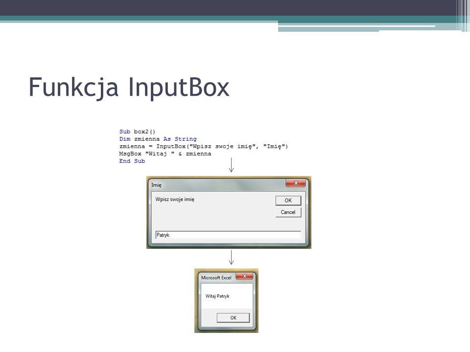 Funkcja InputBox