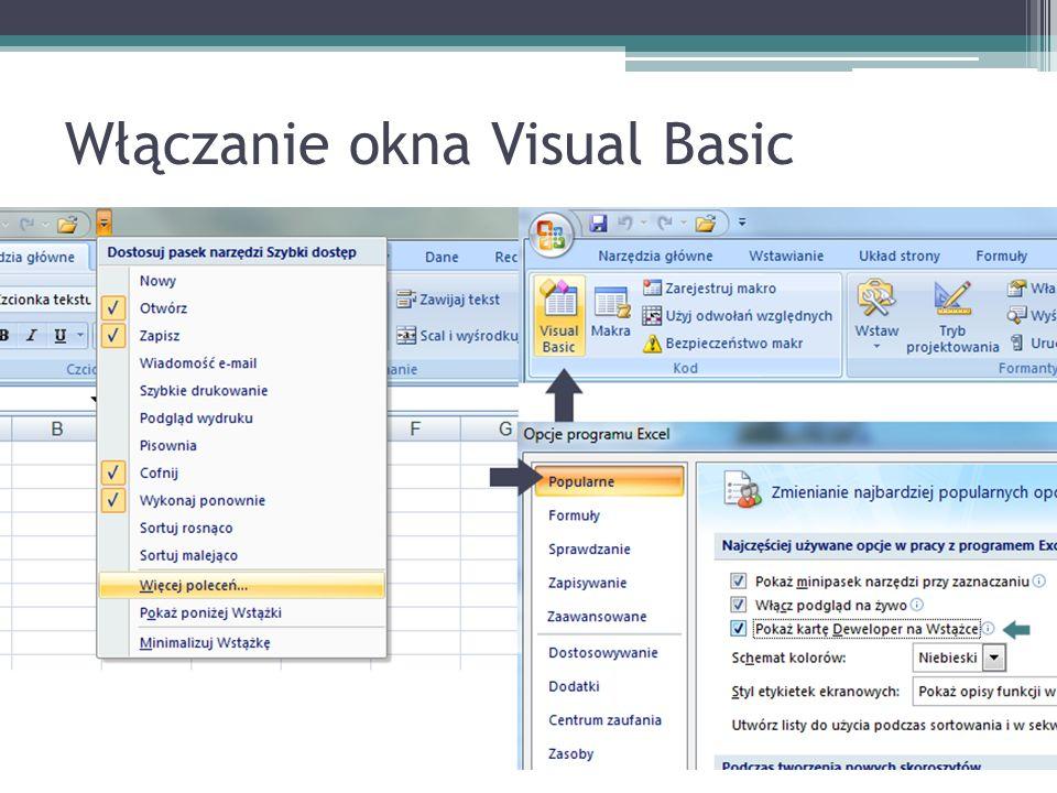 Włączanie okna Visual Basic