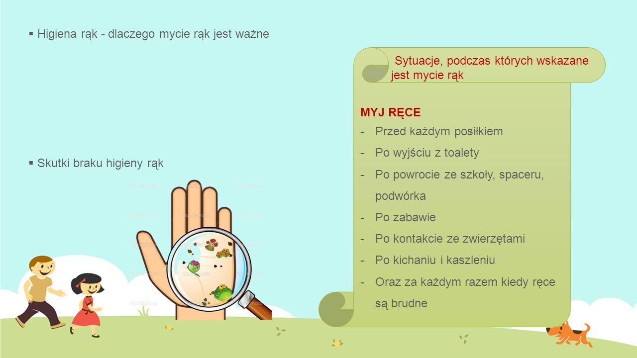  Higiena rąk - dlaczego mycie rąk jest ważne  Skutki braku higieny rąk MYJ RĘCE -P-Przed każdym posiłkiem -P-Po wyjściu z toalety -P-Po powrocie ze szkoły, spaceru, podwórka -P-Po zabawie -P-Po kontakcie ze zwierzętami -P-Po kichaniu i kaszleniu -O-Oraz za każdym razem kiedy ręce są brudne Sytuacje, podczas których wskazane jest mycie rąk