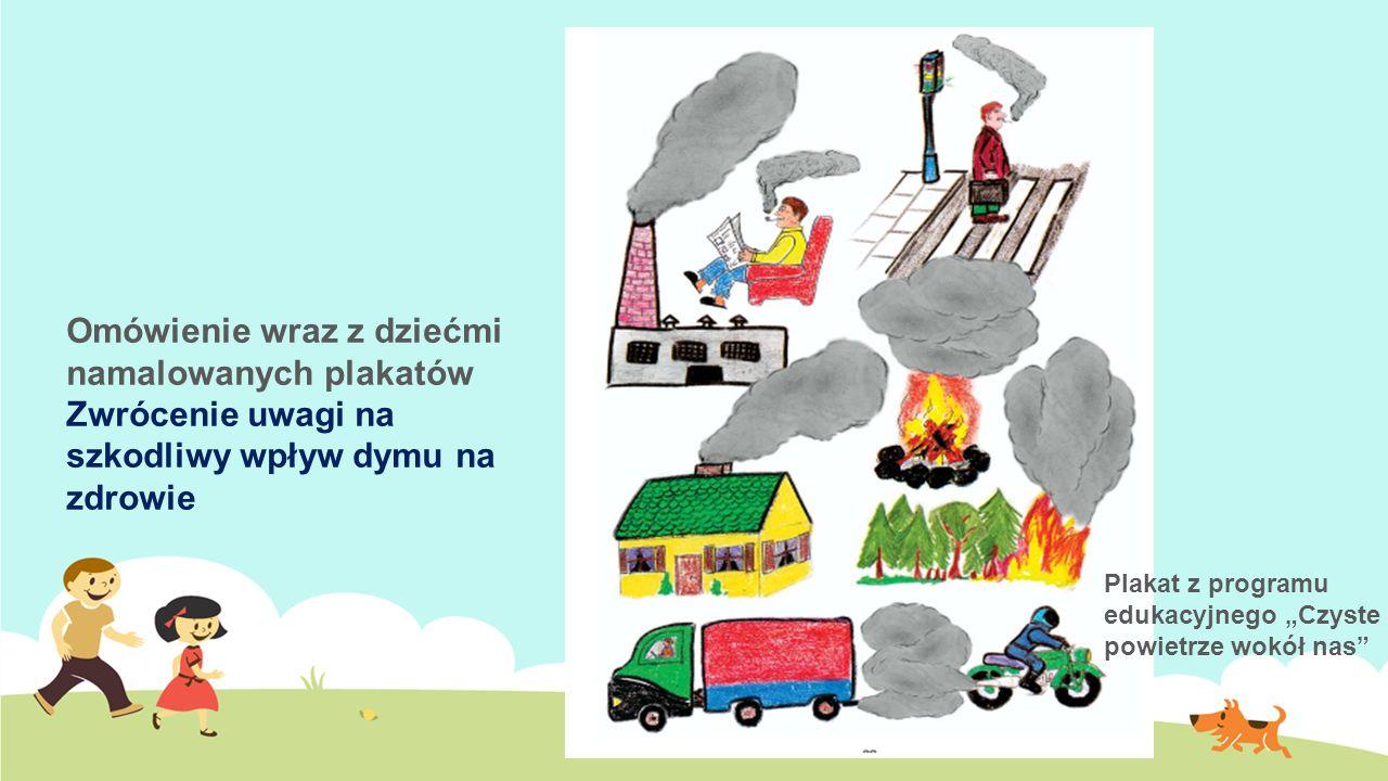 """Omówienie wraz z dziećmi namalowanych plakatów Zwrócenie uwagi na szkodliwy wpływ dymu na zdrowie Plakat z programu edukacyjnego """"Czyste powietrze wokół nas"""