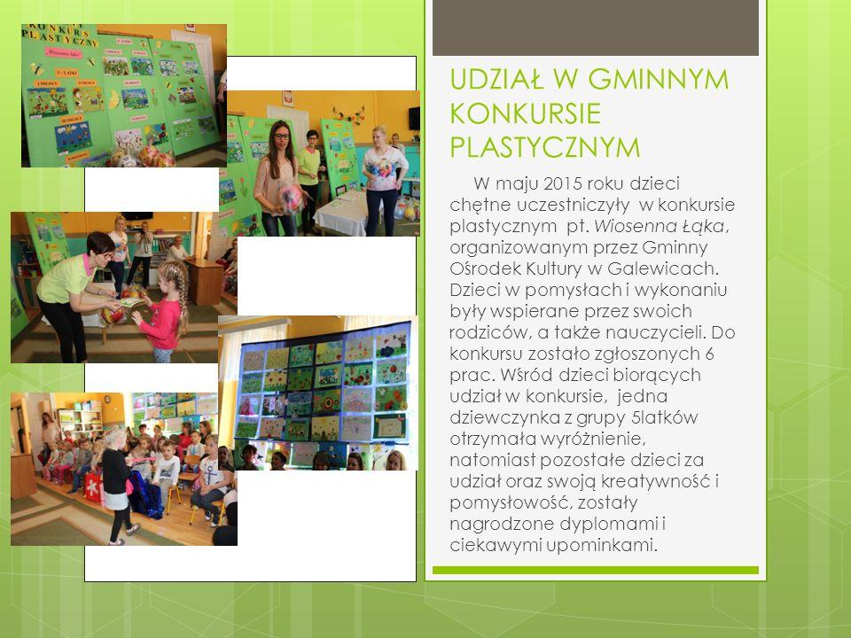 UDZIAŁ W GMINNYM KONKURSIE PLASTYCZNYM W maju 2015 roku dzieci chętne uczestniczyły w konkursie plastycznym pt.