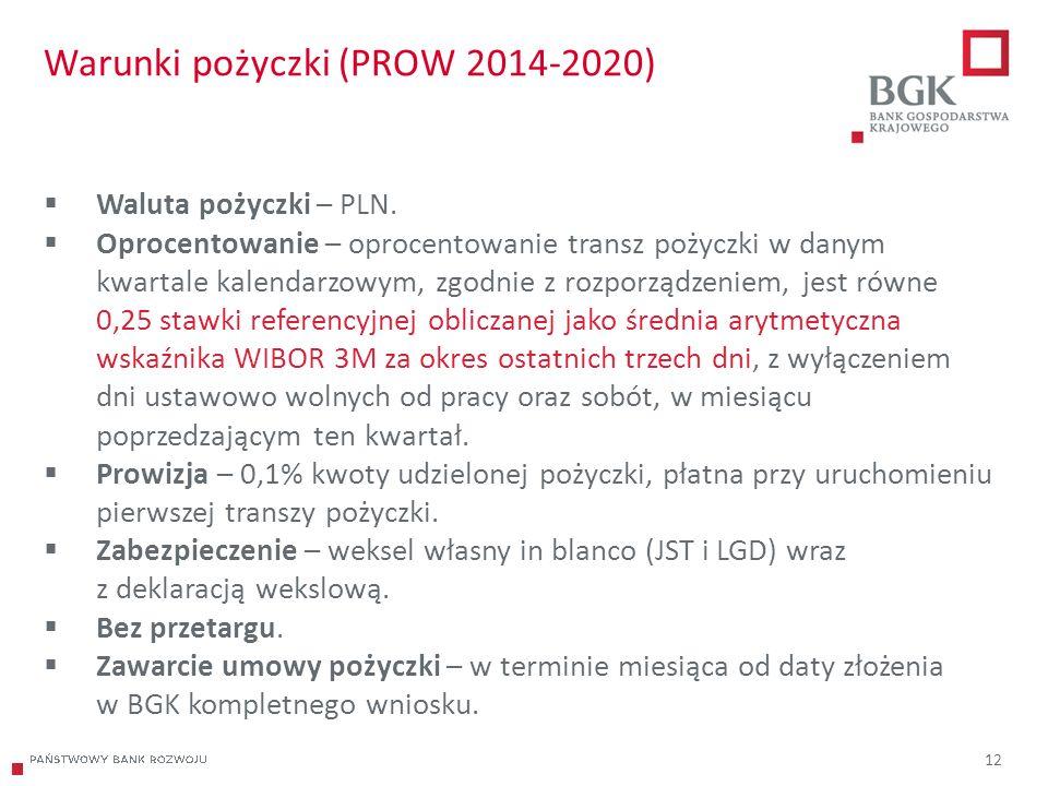 204/204/204 218/32/56 118/126/132 183/32/51 227/30/54 12 Warunki pożyczki (PROW 2014-2020)  Waluta pożyczki – PLN.