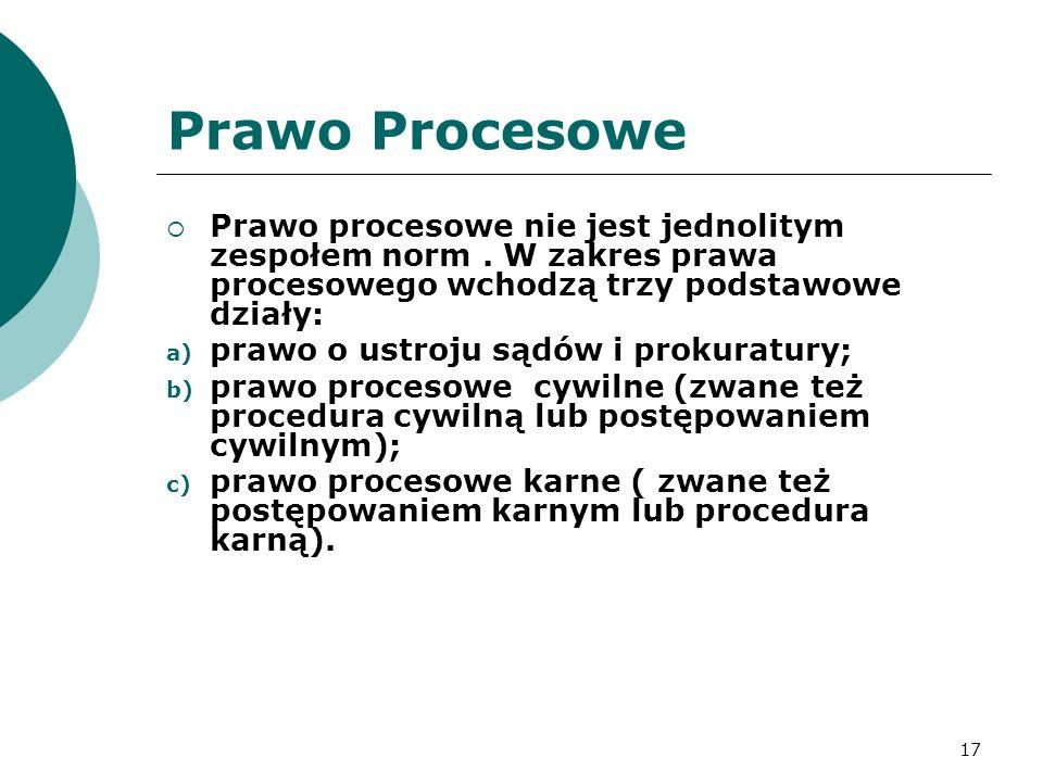 17 Prawo Procesowe  Prawo procesowe nie jest jednolitym zespołem norm.