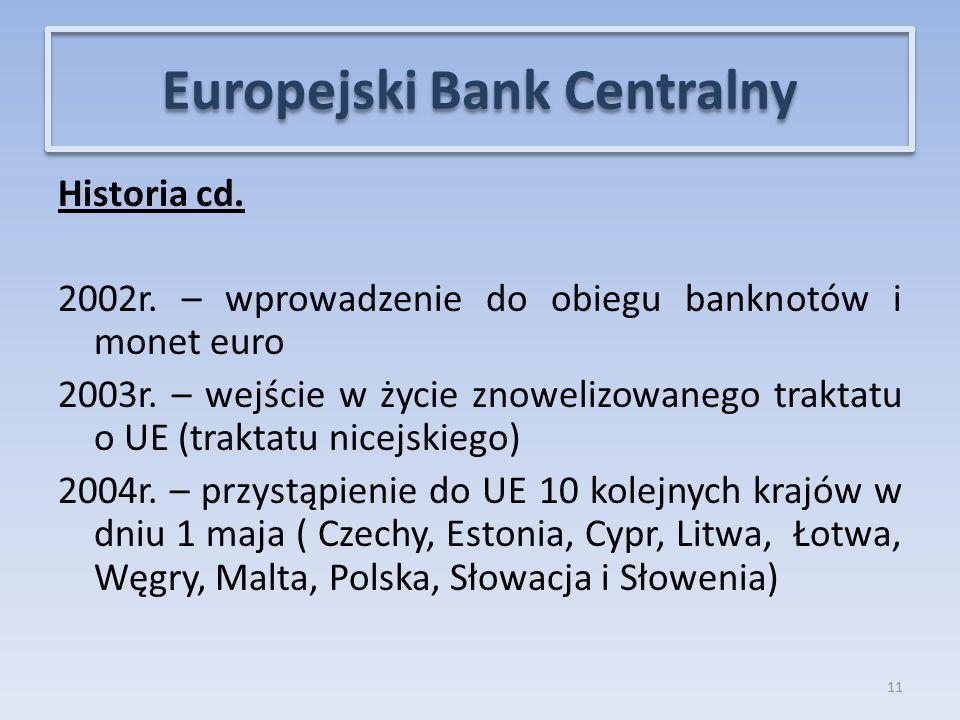 Historia cd.2002r. – wprowadzenie do obiegu banknotów i monet euro 2003r.