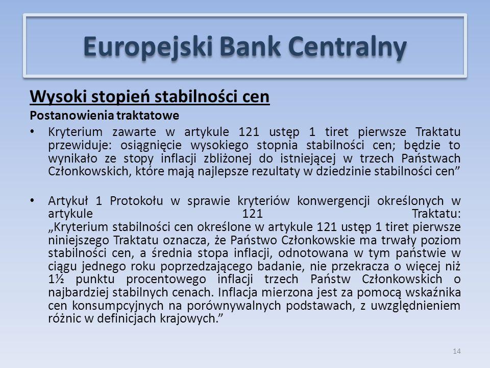 """Wysoki stopień stabilności cen Postanowienia traktatowe Kryterium zawarte w artykule 121 ustęp 1 tiret pierwsze Traktatu przewiduje: osiągnięcie wysokiego stopnia stabilności cen; będzie to wynikało ze stopy inflacji zbliżonej do istniejącej w trzech Państwach Członkowskich, które mają najlepsze rezultaty w dziedzinie stabilności cen Artykuł 1 Protokołu w sprawie kryteriów konwergencji określonych w artykule 121 Traktatu: """"Kryterium stabilności cen określone w artykule 121 ustęp 1 tiret pierwsze niniejszego Traktatu oznacza, że Państwo Członkowskie ma trwały poziom stabilności cen, a średnia stopa inflacji, odnotowana w tym państwie w ciągu jednego roku poprzedzającego badanie, nie przekracza o więcej niż 1½ punktu procentowego inflacji trzech Państw Członkowskich o najbardziej stabilnych cenach."""