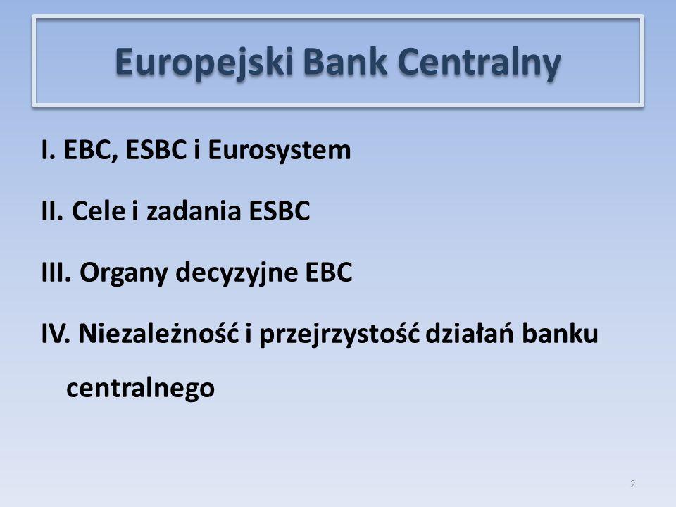 I.EBC, ESBC i Eurosystem II. Cele i zadania ESBC III.