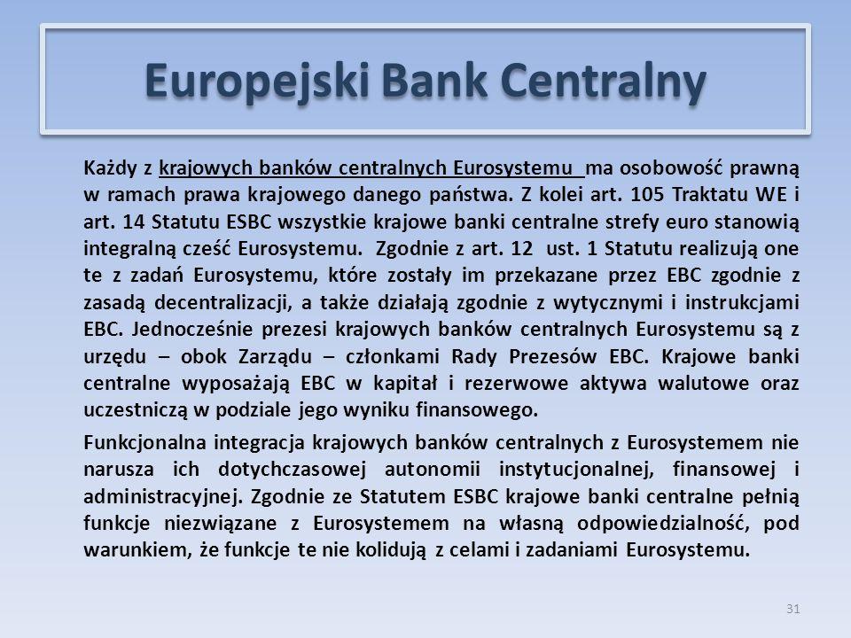 Każdy z krajowych banków centralnych Eurosystemu ma osobowość prawną w ramach prawa krajowego danego państwa.