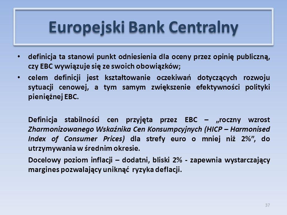 definicja ta stanowi punkt odniesienia dla oceny przez opinię publiczną, czy EBC wywiązuje się ze swoich obowiązków; celem definicji jest kształtowanie oczekiwań dotyczących rozwoju sytuacji cenowej, a tym samym zwiększenie efektywności polityki pieniężnej EBC.