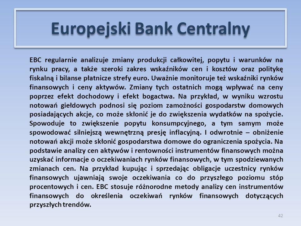 EBC regularnie analizuje zmiany produkcji całkowitej, popytu i warunków na rynku pracy, a także szeroki zakres wskaźników cen i kosztów oraz politykę fiskalną i bilanse płatnicze strefy euro.