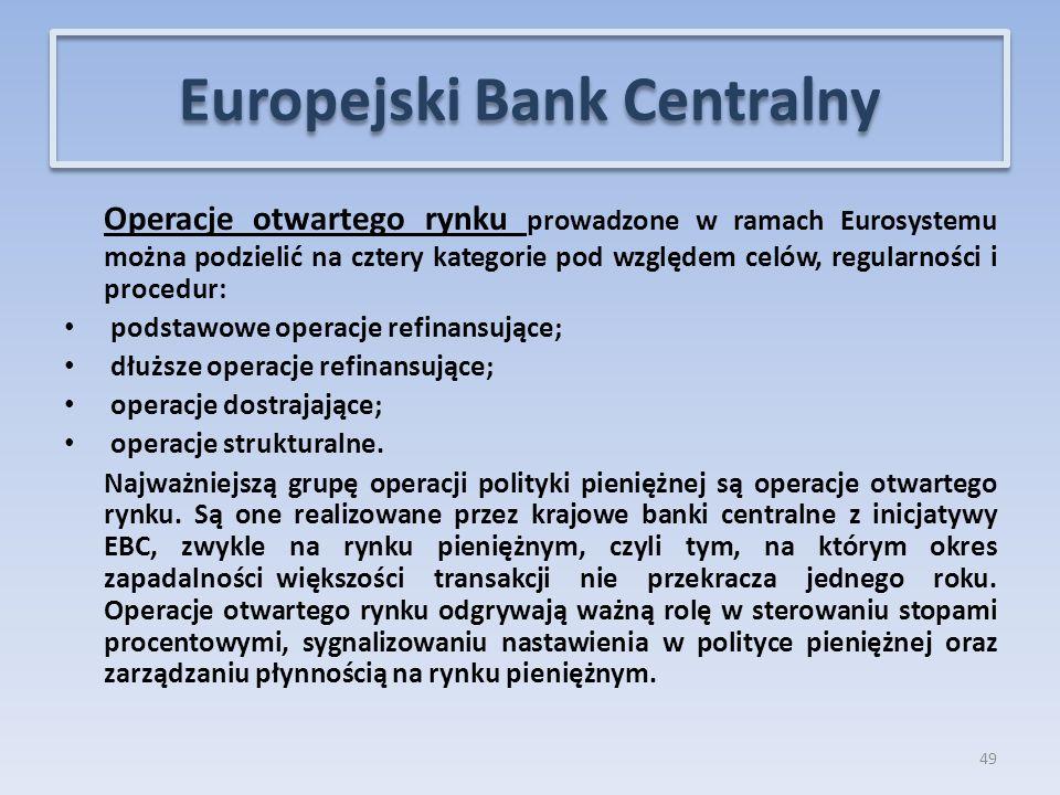 Operacje otwartego rynku prowadzone w ramach Eurosystemu można podzielić na cztery kategorie pod względem celów, regularności i procedur: podstawowe operacje refinansujące; dłuższe operacje refinansujące; operacje dostrajające; operacje strukturalne.