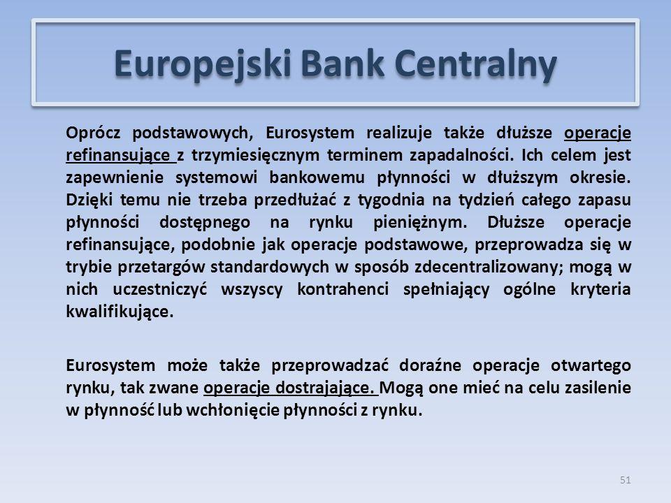 Oprócz podstawowych, Eurosystem realizuje także dłuższe operacje refinansujące z trzymiesięcznym terminem zapadalności.