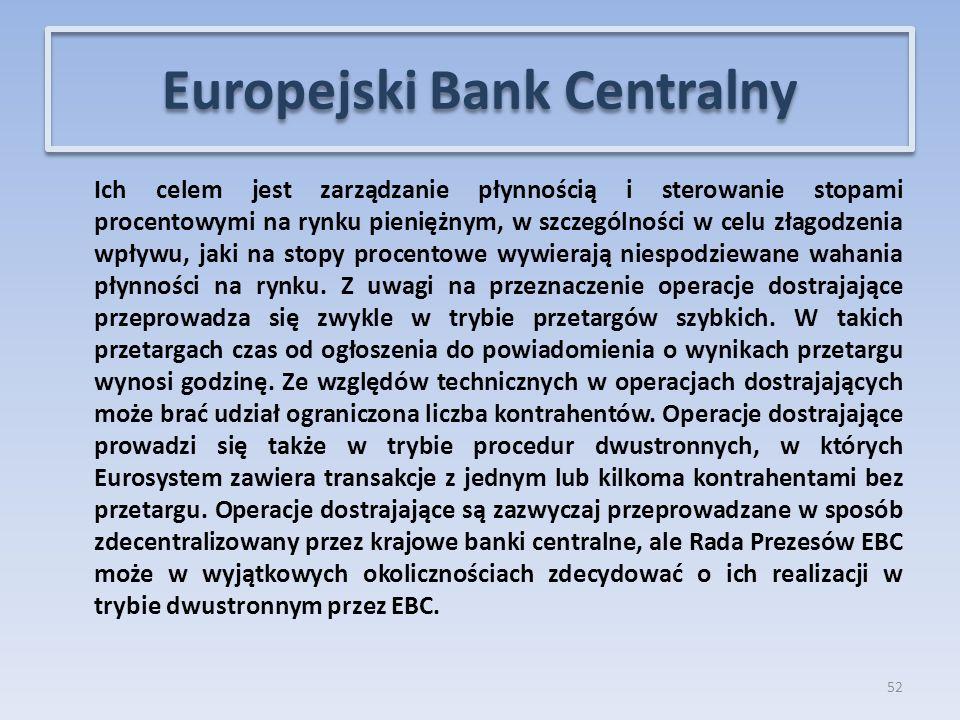 Ich celem jest zarządzanie płynnością i sterowanie stopami procentowymi na rynku pieniężnym, w szczególności w celu złagodzenia wpływu, jaki na stopy procentowe wywierają niespodziewane wahania płynności na rynku.