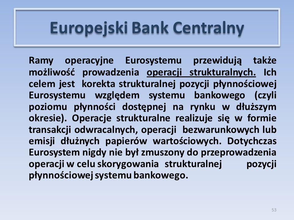Ramy operacyjne Eurosystemu przewidują także możliwość prowadzenia operacji strukturalnych.