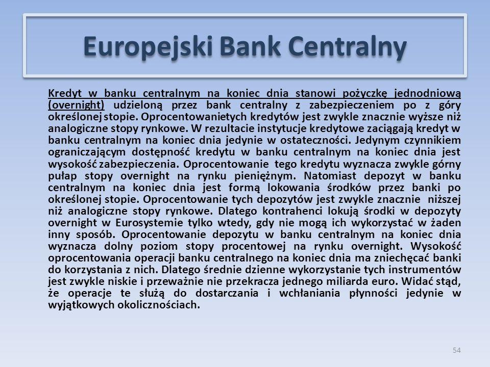 Kredyt w banku centralnym na koniec dnia stanowi pożyczkę jednodniową (overnight) udzieloną przez bank centralny z zabezpieczeniem po z góry określonej stopie.