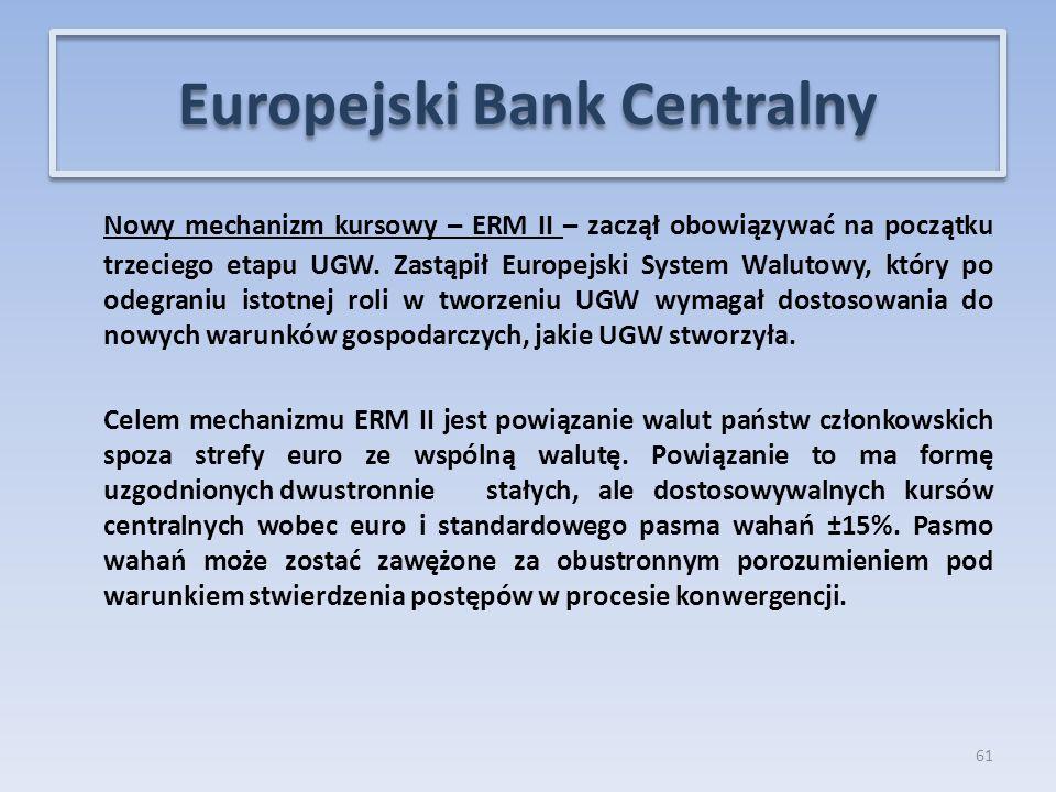 Nowy mechanizm kursowy – ERM II – zaczął obowiązywać na początku trzeciego etapu UGW.