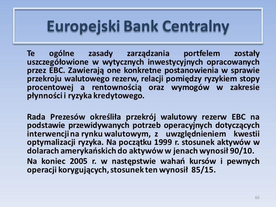 Te ogólne zasady zarządzania portfelem zostały uszczegółowione w wytycznych inwestycyjnych opracowanych przez EBC.