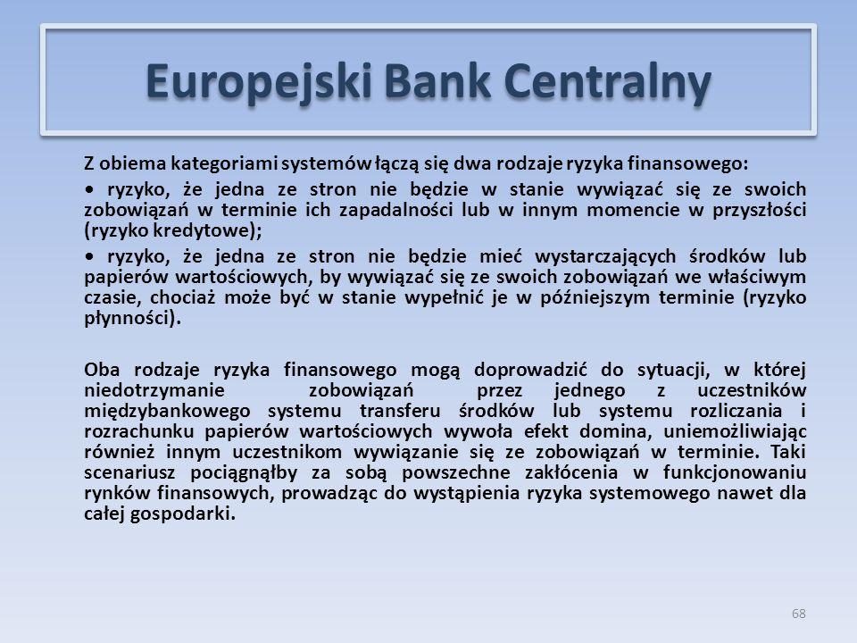 Z obiema kategoriami systemów łączą się dwa rodzaje ryzyka finansowego: ryzyko, że jedna ze stron nie będzie w stanie wywiązać się ze swoich zobowiązań w terminie ich zapadalności lub w innym momencie w przyszłości (ryzyko kredytowe); ryzyko, że jedna ze stron nie będzie mieć wystarczających środków lub papierów wartościowych, by wywiązać się ze swoich zobowiązań we właściwym czasie, chociaż może być w stanie wypełnić je w późniejszym terminie (ryzyko płynności).