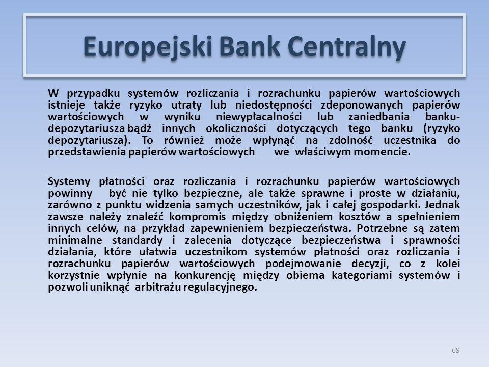 W przypadku systemów rozliczania i rozrachunku papierów wartościowych istnieje także ryzyko utraty lub niedostępności zdeponowanych papierów wartościowych w wyniku niewypłacalności lub zaniedbania banku- depozytariusza bądź innych okoliczności dotyczących tego banku (ryzyko depozytariusza).