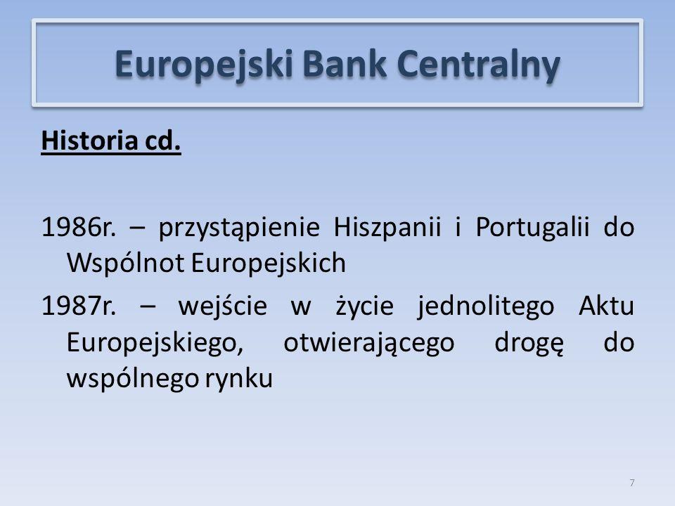 Historia cd.1986r. – przystąpienie Hiszpanii i Portugalii do Wspólnot Europejskich 1987r.