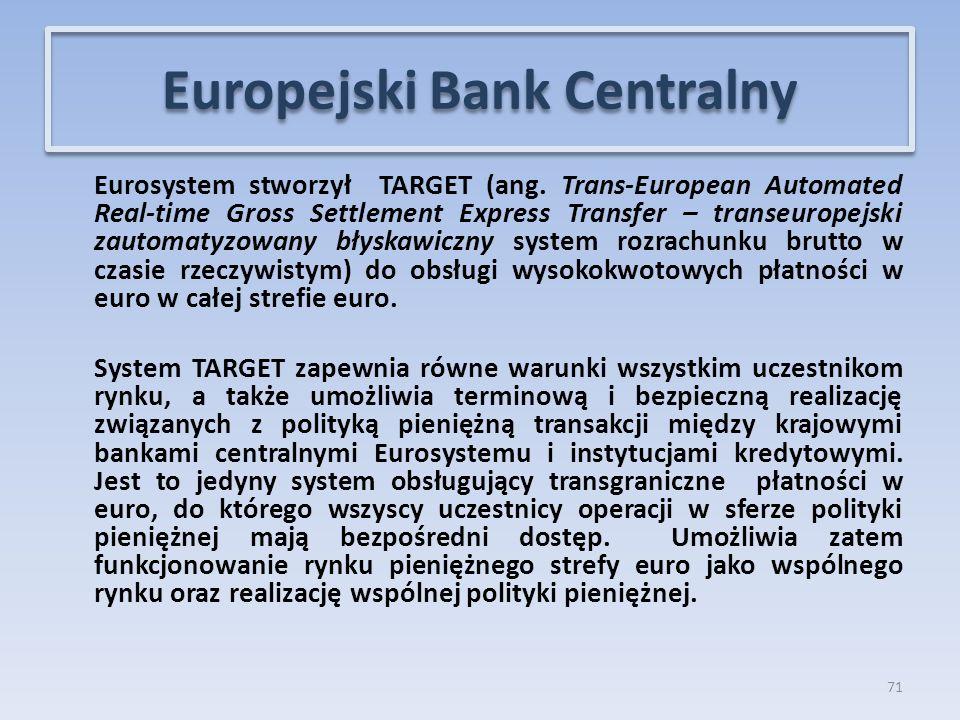 Eurosystem stworzył TARGET (ang.