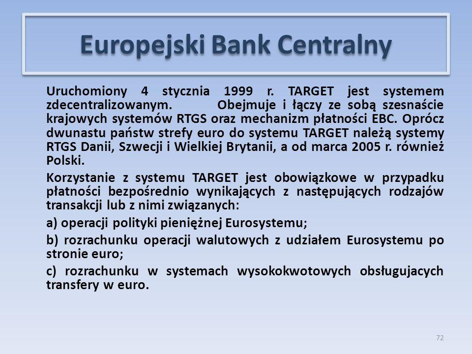 Uruchomiony 4 stycznia 1999 r.TARGET jest systemem zdecentralizowanym.