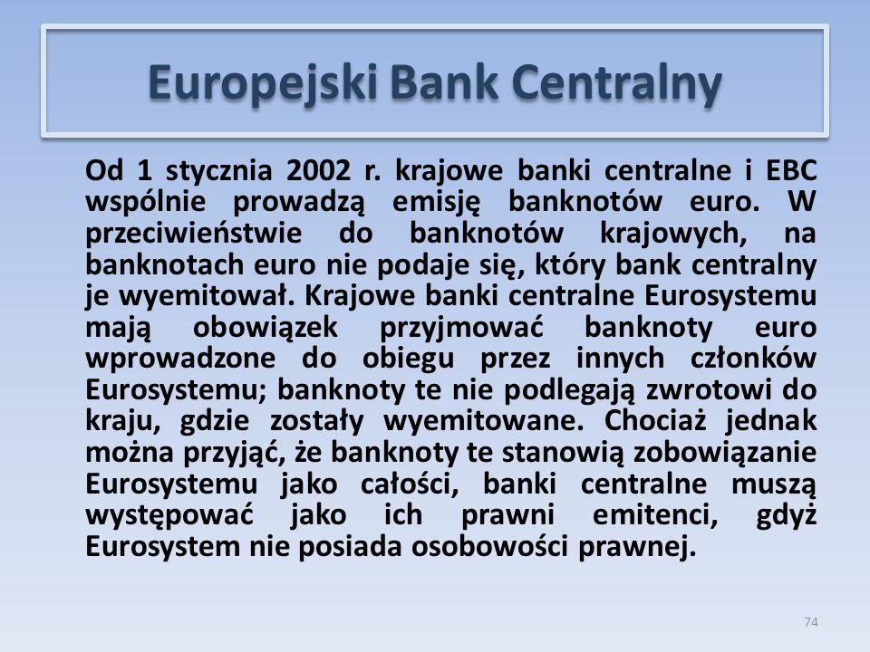 Od 1 stycznia 2002 r.krajowe banki centralne i EBC wspólnie prowadzą emisję banknotów euro.