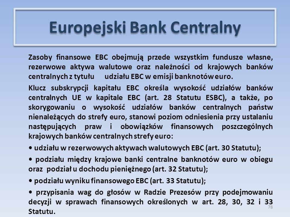 Zasoby finansowe EBC obejmują przede wszystkim fundusze własne, rezerwowe aktywa walutowe oraz należności od krajowych banków centralnych z tytułu udziału EBC w emisji banknotów euro.