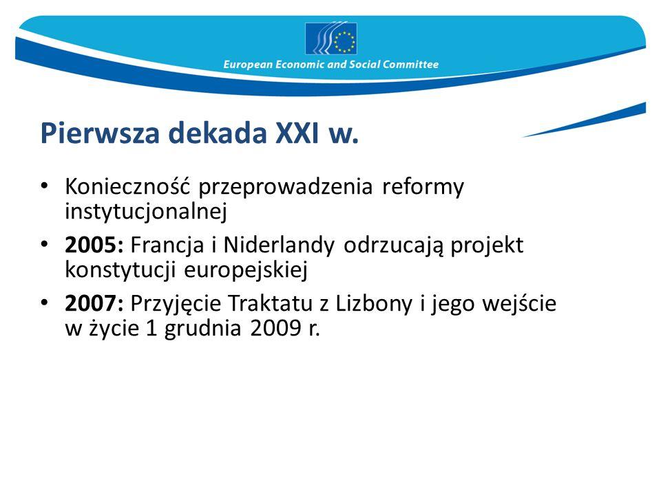 Pierwsza dekada XXI w. Konieczność przeprowadzenia reformy instytucjonalnej 2005: Francja i Niderlandy odrzucają projekt konstytucji europejskiej 2007