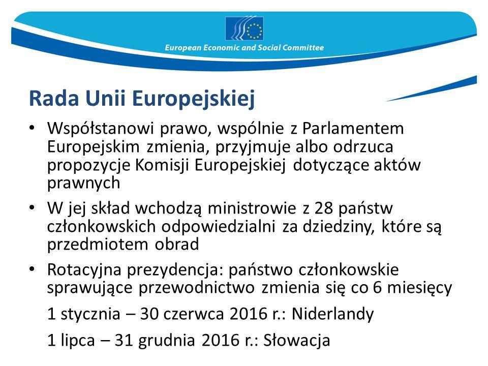 Rada Unii Europejskiej Współstanowi prawo, wspólnie z Parlamentem Europejskim zmienia, przyjmuje albo odrzuca propozycje Komisji Europejskiej dotycząc