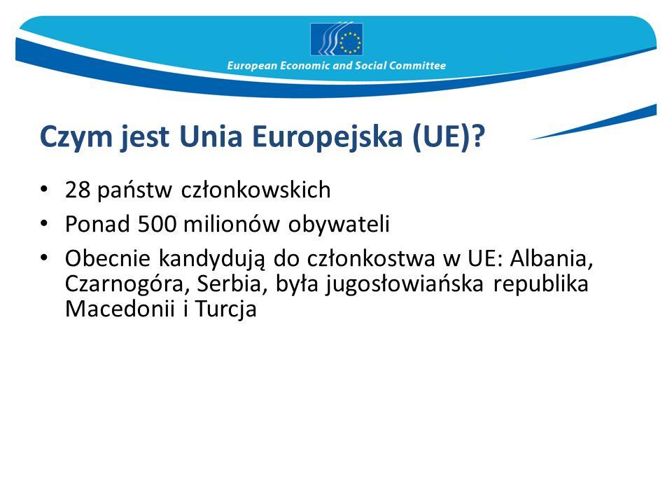 Czym jest Unia Europejska (UE)? 28 państw członkowskich Ponad 500 milionów obywateli Obecnie kandydują do członkostwa w UE: Albania, Czarnogóra, Serbi