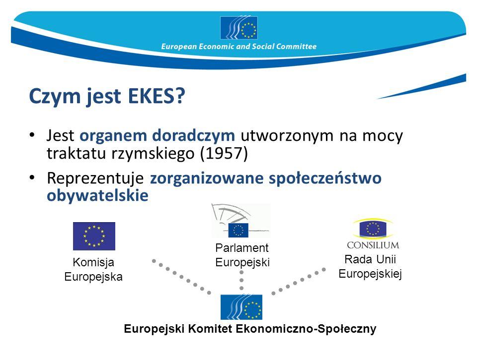 Czym jest EKES? Jest organem doradczym utworzonym na mocy traktatu rzymskiego (1957) Reprezentuje zorganizowane społeczeństwo obywatelskie Parlament E