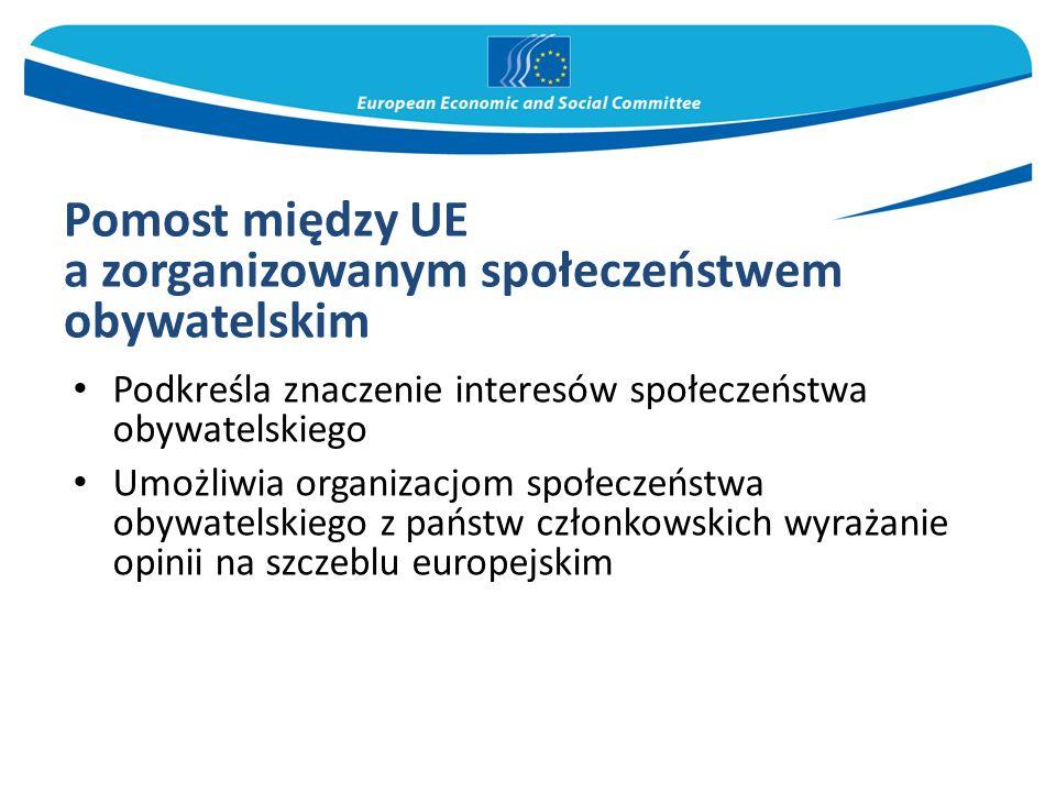 Pomost między UE a zorganizowanym społeczeństwem obywatelskim Podkreśla znaczenie interesów społeczeństwa obywatelskiego Umożliwia organizacjom społec