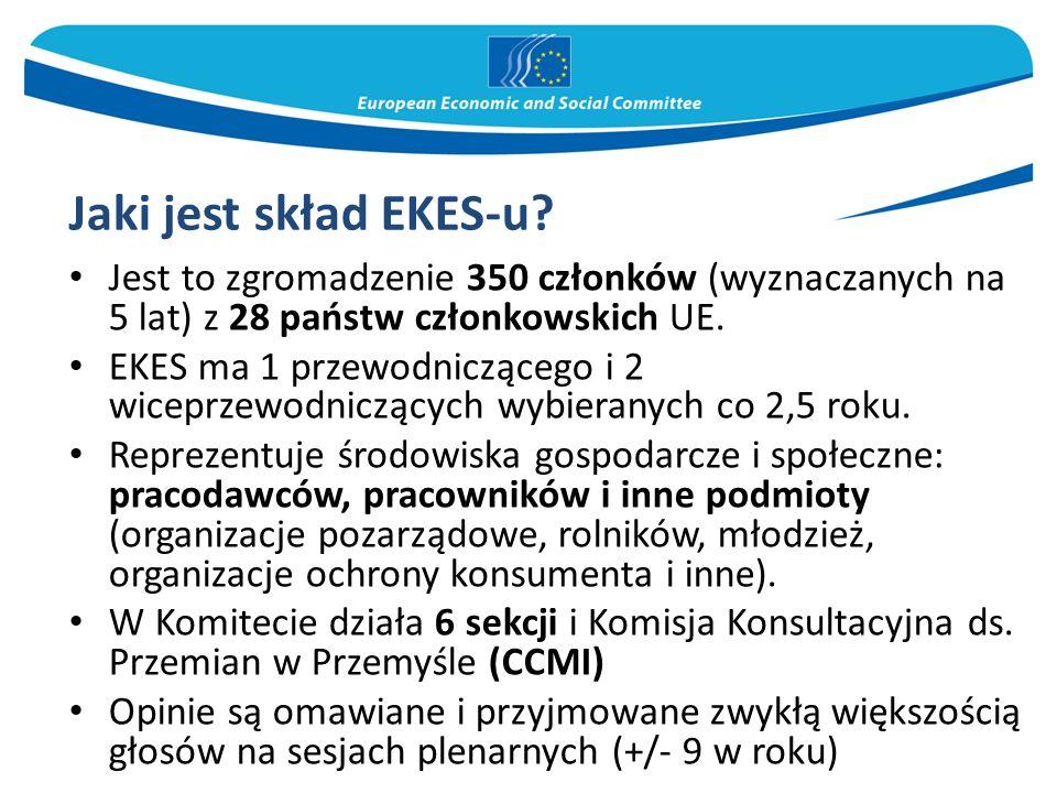 Jaki jest skład EKES-u? Jest to zgromadzenie 350 członków (wyznaczanych na 5 lat) z 28 państw członkowskich UE. EKES ma 1 przewodniczącego i 2 wiceprz