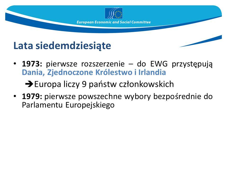 Lata osiemdziesiąte: konsolidacja Rozszerzenie o kraje Europy Południowej – przystępują Grecja(1981), Hiszpania i Portugalia(1986)  Europa liczy 12 państw członkowskich 1986: podpisanie Jednolitego aktu europejskiego zmieniającego traktat rzymski 1990: w wyniku zjednoczenia Niemiec dawne Niemcy Wschodnie zostają przyłączone do EWG