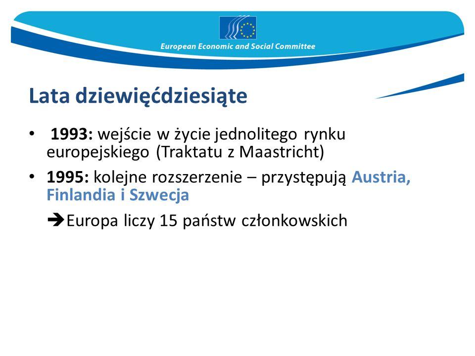Lata dziewięćdziesiąte 1993: wejście w życie jednolitego rynku europejskiego (Traktatu z Maastricht) 1995: kolejne rozszerzenie – przystępują Austria,