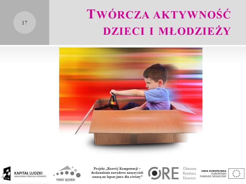 """Projekt """"Rozwój Kompetencji – doskonalenie zawodowe nauczycieli szansą na lepsze jutro dla oświaty T WÓRCZA AKTYWNOŚĆ DZIECI I MŁODZIEŻY 17"""