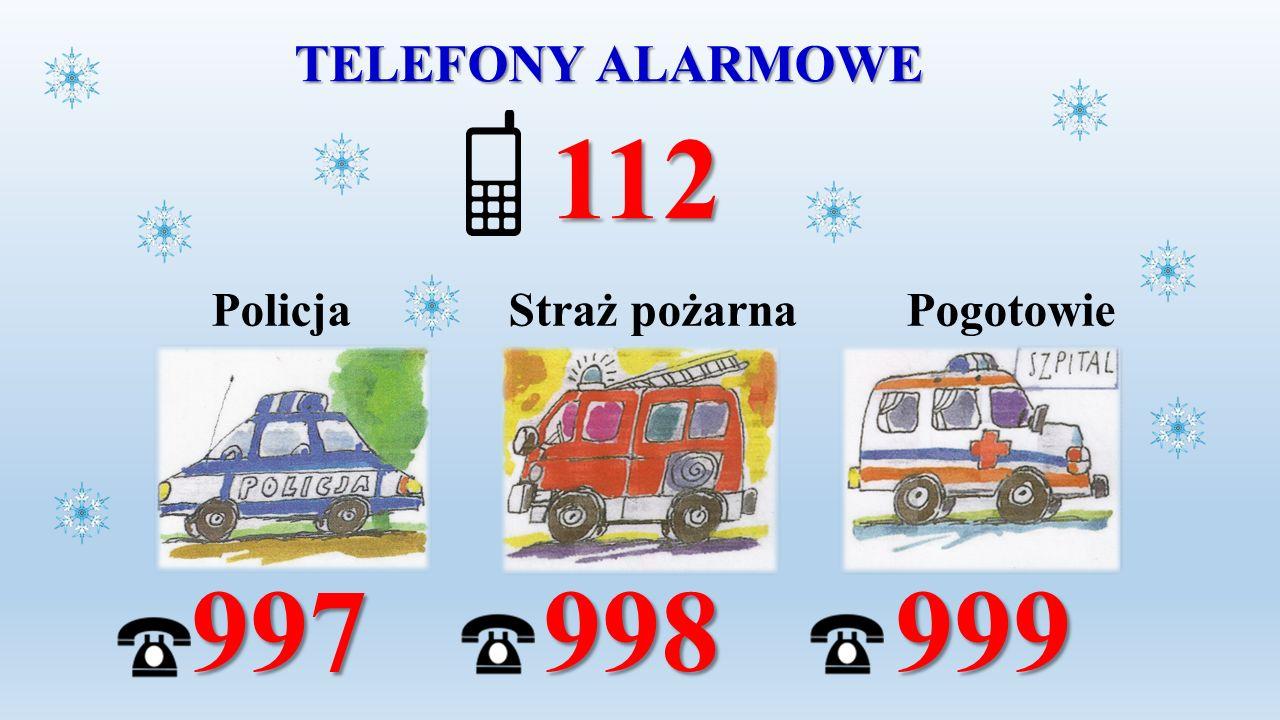 TELEFONY ALARMOWE Policja Straż pożarna Pogotowie 997 998 999 997 998 999 112 112