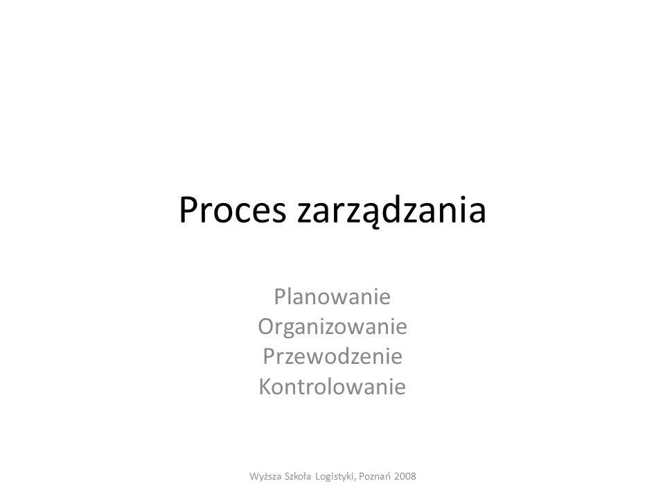 Proces zarządzania Planowanie Organizowanie Przewodzenie Kontrolowanie Wyższa Szkoła Logistyki, Poznań 2008
