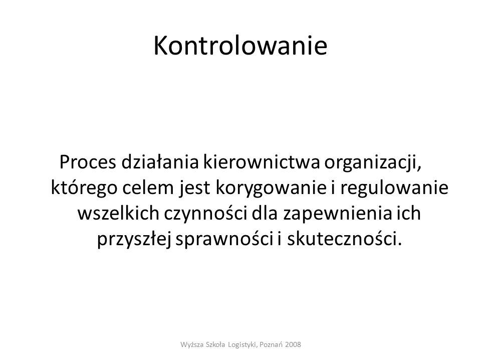 Kontrolowanie Proces działania kierownictwa organizacji, którego celem jest korygowanie i regulowanie wszelkich czynności dla zapewnienia ich przyszłej sprawności i skuteczności.